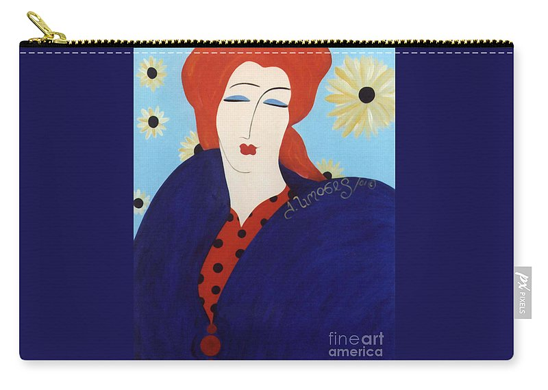 #female Carry-all Pouch featuring the painting 2001 Collection by Jacquelinemari
