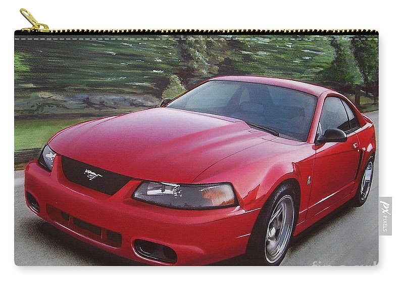 2001 Carry-all Pouch featuring the drawing 2001 Ford Mustang Cobra by Paul Kuras