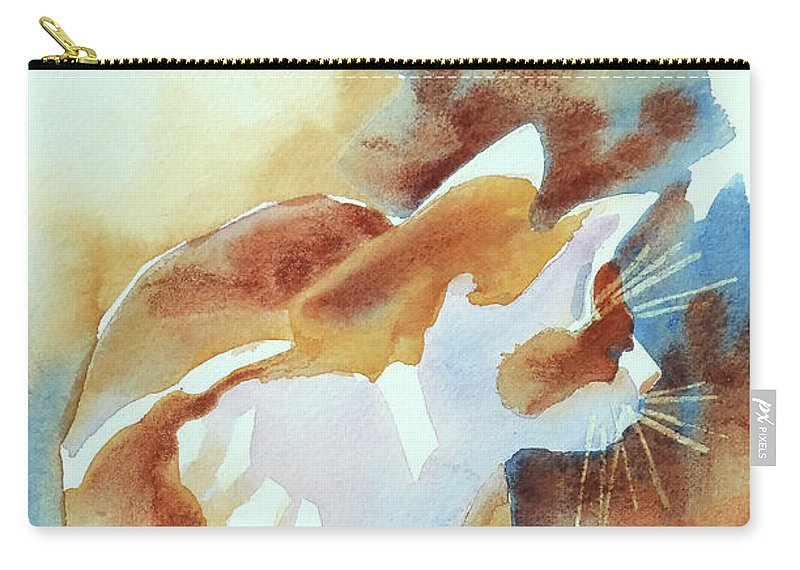Paintings Carry-all Pouch featuring the painting 2004 Cat On The Prowl I by Kathy Braud