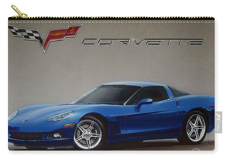 2005 Carry-all Pouch featuring the drawing 2005 Corvette by Paul Kuras