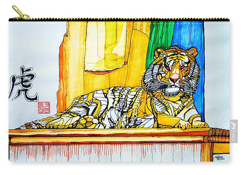 Acrylic Painting Carry-all Pouch featuring the painting 2010 Year Of The Tiger by Michael C Crane