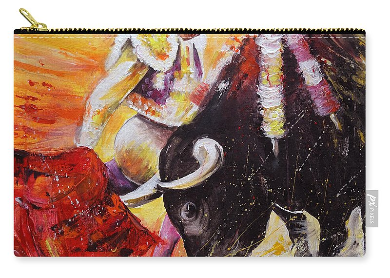 Bulls Carry-all Pouch featuring the painting 2011 Toro Acrylics 01 by Miki De Goodaboom
