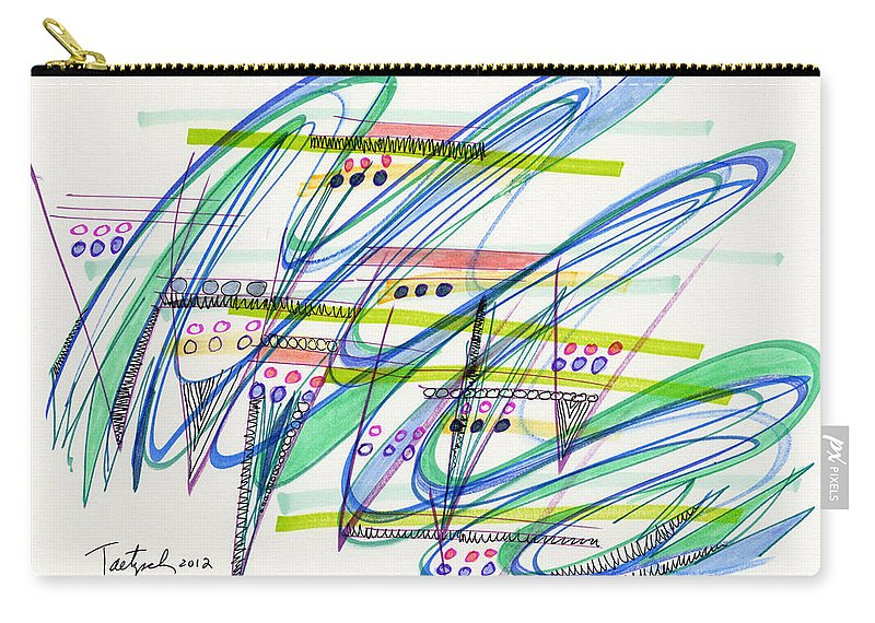 Abstract Carry-all Pouch featuring the drawing 2012 Drawing #9 by Lynne Taetzsch
