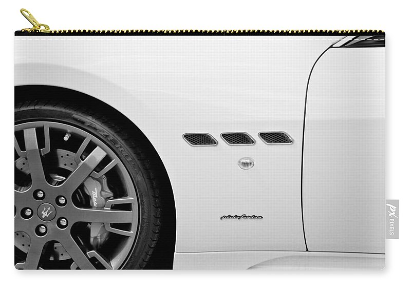 Italian Cars Carry-all Pouch featuring the photograph 2012 Maserati Gran Turismo S B And W by Rich Franco