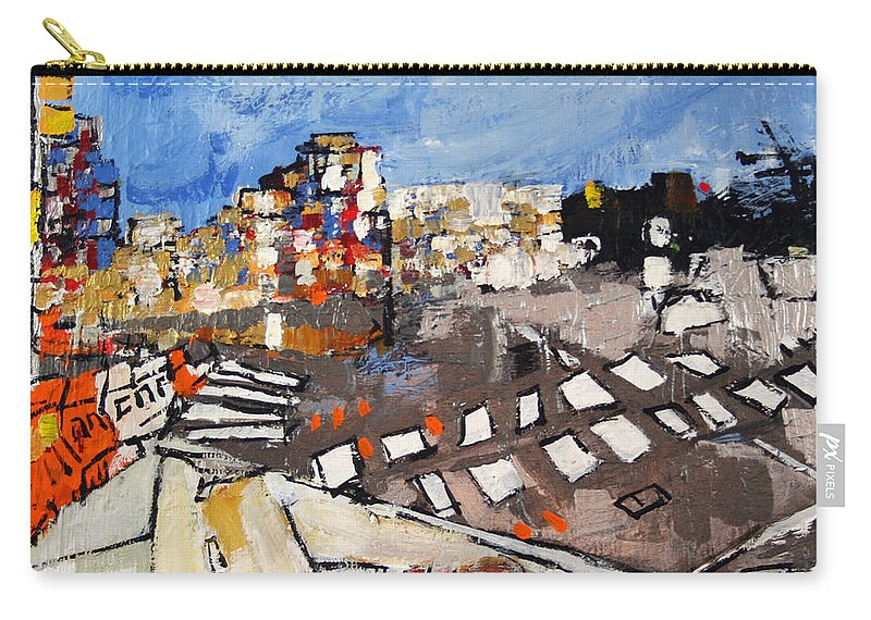 Virginia Carry-all Pouch featuring the painting 2013 015 Crosswalk Silver Orange And Blue Arlington Virginia by Alyse Radenovic