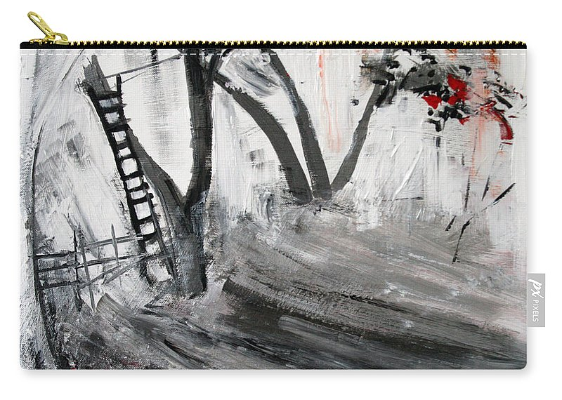 Nature Carry-all Pouch featuring the painting 2013 058 Tree And Ladder Alexandria Virginia Silver Black White Red by Alyse Radenovic