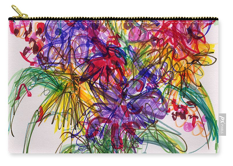 Floral Carry-all Pouch featuring the drawing 2014 Abstract Drawing #14 by Lynne Taetzsch