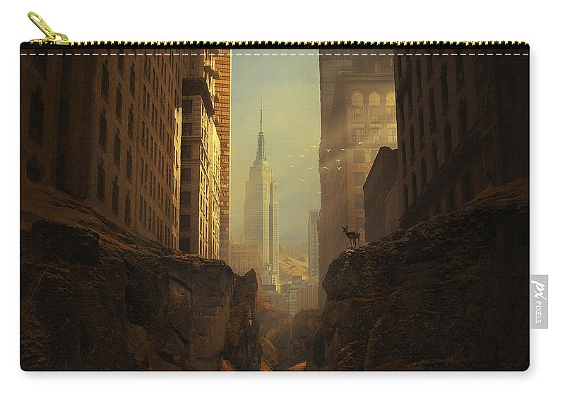 City Ruins Apocalypse Buildings Sun Animal Sunbeams Abandoned Ny Landscape Photomontage Rocks Loneliness Creek Walls Birds Sciencefiction Fantasy Newyork Warm Shadows Nature Architecture Photomontage Photomanipulation Carry-all Pouch featuring the photograph 2146 by Michal Karcz