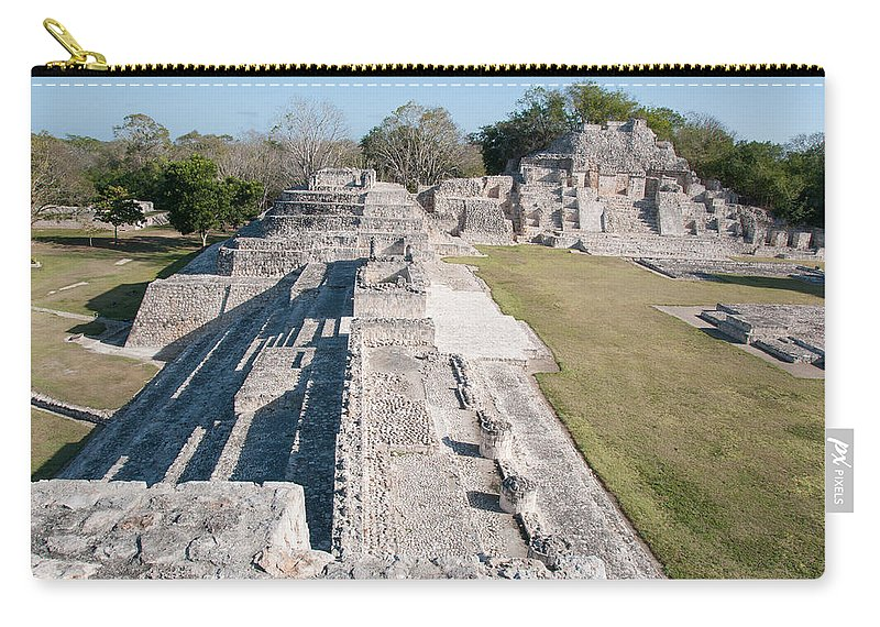 Mexico Campeche Carry-all Pouch featuring the digital art Edzna In Campeche by Carol Ailles