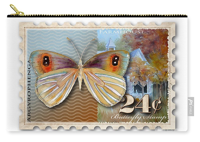 Butterfly Carry-all Pouch featuring the painting 24 Cent Butterfly Stamp by Amy Kirkpatrick