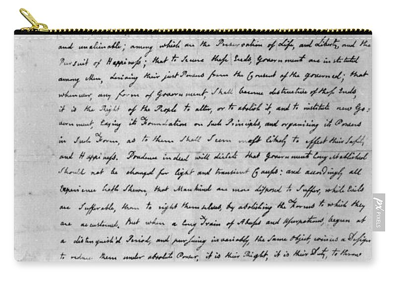 1776 Carry-all Pouch featuring the photograph Declaration Of Independence by Granger