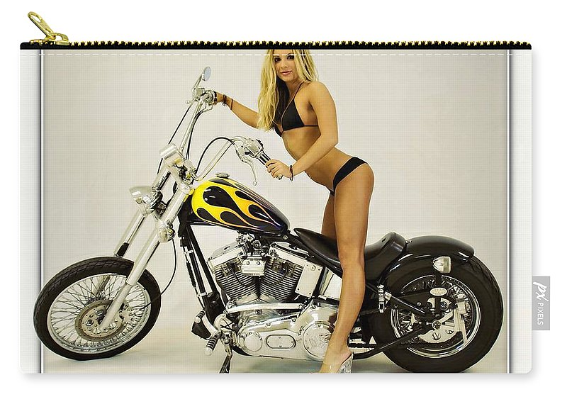 Models & Motorcycles Carry-all Pouch featuring the photograph Models And Motorcycles by Walter Herrit