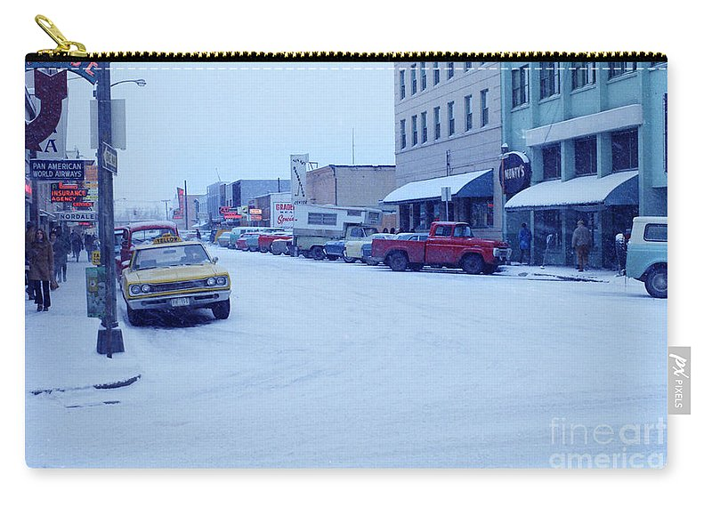 Fairbanks Carry-all Pouch featuring the photograph 2nd Street Fairbanks Alaska 1969 by California Views Archives Mr Pat Hathaway Archives