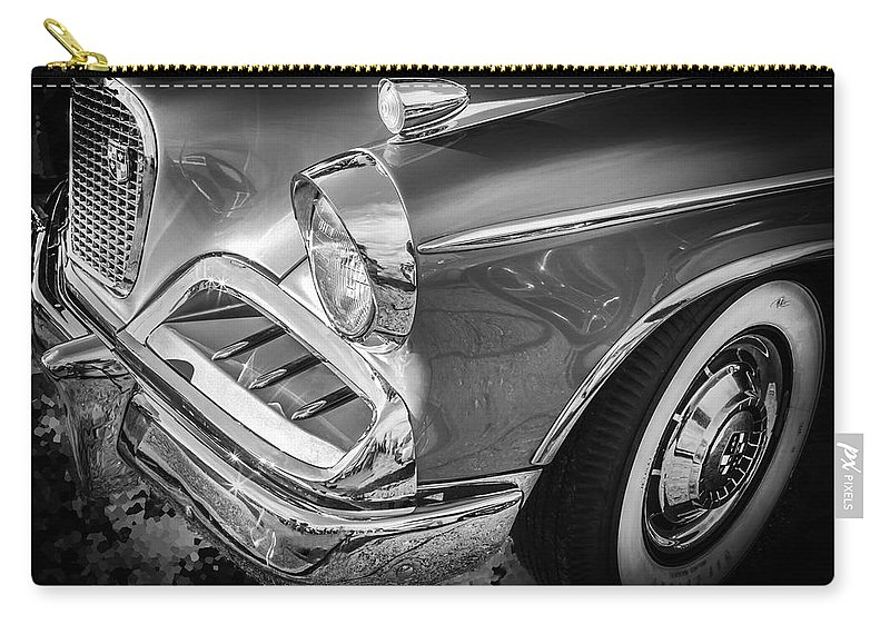 1957 Studebaker Carry-all Pouch featuring the photograph 1957 Studebaker Golden Hawk Bw by Rich Franco