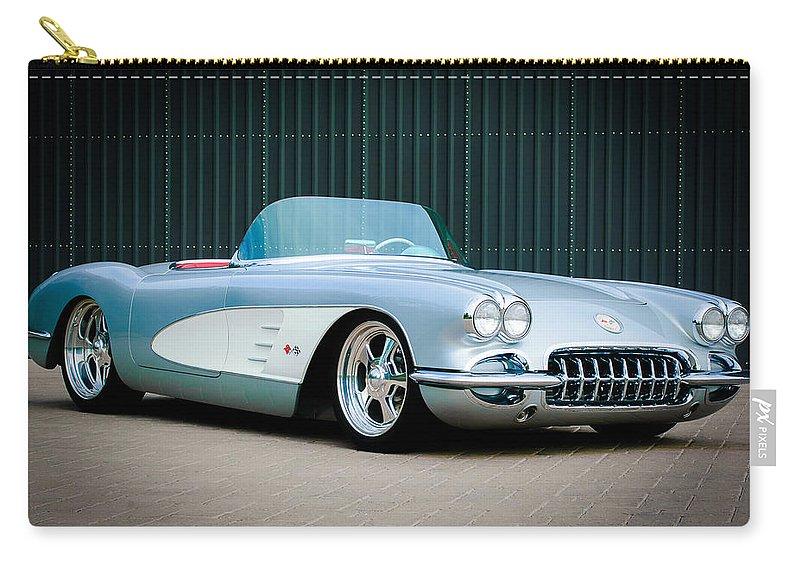 1960 Chevrolet Corvette Carry-all Pouch featuring the photograph 1960 Chevrolet Corvette by Jill Reger