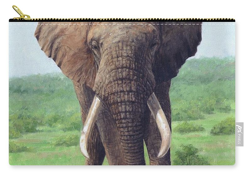 African Elephant Carry-all Pouch featuring the painting African Elephant 6 by David Stribbling