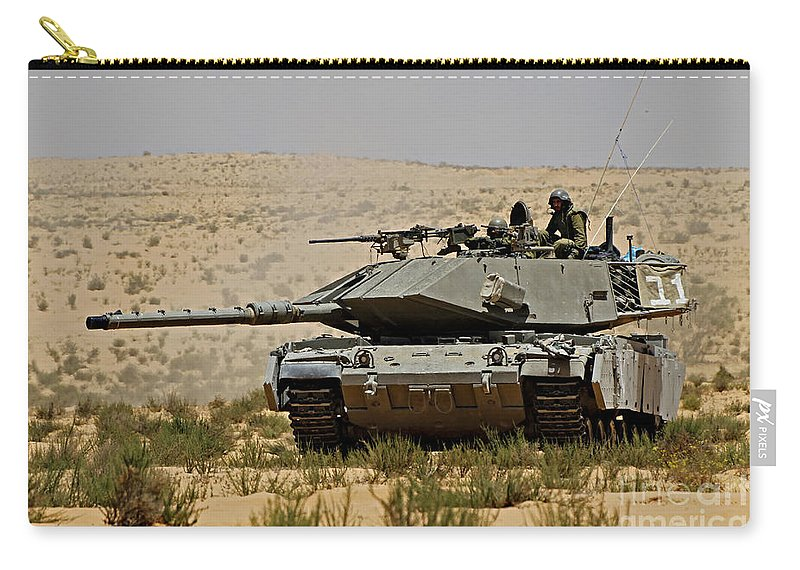 Battletank Carry-all Pouch featuring the photograph An Israel Defense Force Magach 7 Main by Ofer Zidon