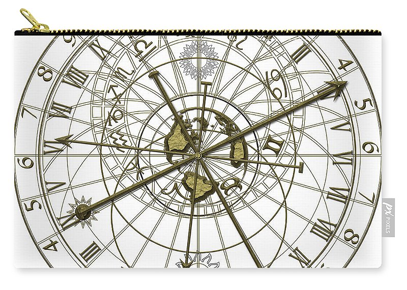 Abstract Carry-all Pouch featuring the digital art Astronomical Clock by Michal Boubin