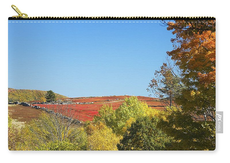 Blueberry Carry-all Pouch featuring the photograph Autumn Colors In Maine Blueberry Field And Forest by Keith Webber Jr