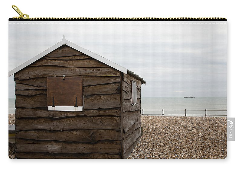 Kingsdown Carry-all Pouch featuring the photograph Beach Hut At Kingsdown by Ian Middleton