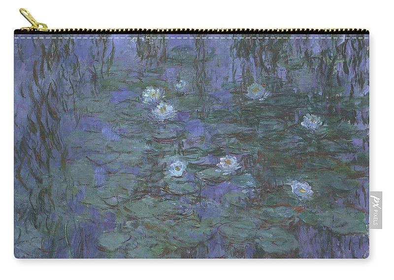 Claude Monet Carry-all Pouch featuring the painting Blue Water Lilies by Claude Monet