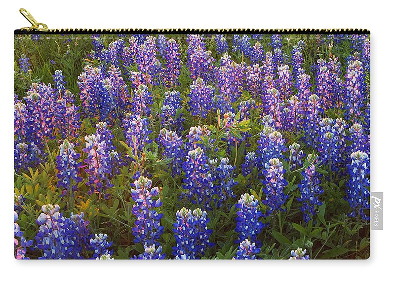 Texas Carry-all Pouch featuring the photograph Bluebonnets At Sunset by Susan Rovira