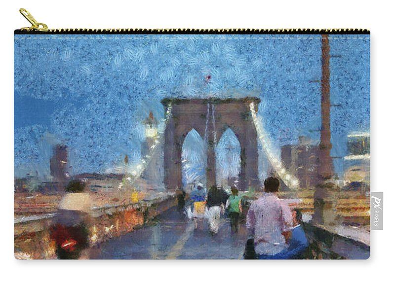 New York; Ny; N.y.; Nyc; Manhattan; Usa; U.s.a.; North America; American; Brooklyn; Bridge; Promenade; Walkway; City; People; Tourists; Walk; Walking; Dusk; Twilight; Night; Light; Pole; Paint; Painting; Paintings Carry-all Pouch featuring the painting Brooklyn Bridge Promenade by George Atsametakis