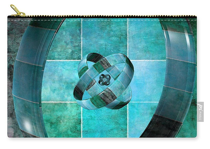Abstract Carry-all Pouch featuring the digital art 3 By 3 Ocean Rings by Angelina Vick