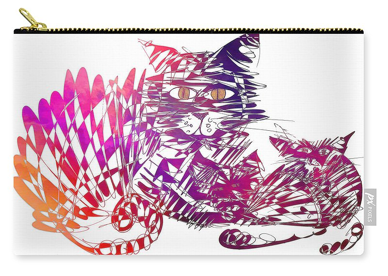 Cat Carry-all Pouch featuring the digital art 3 Cats Purple by Justyna JBJart