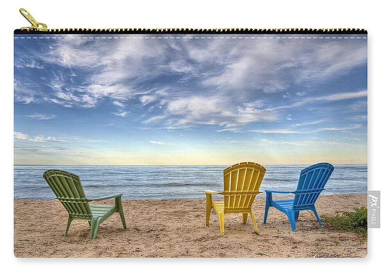 Chairs Carry-all Pouch featuring the photograph 3 Chairs by Scott Norris