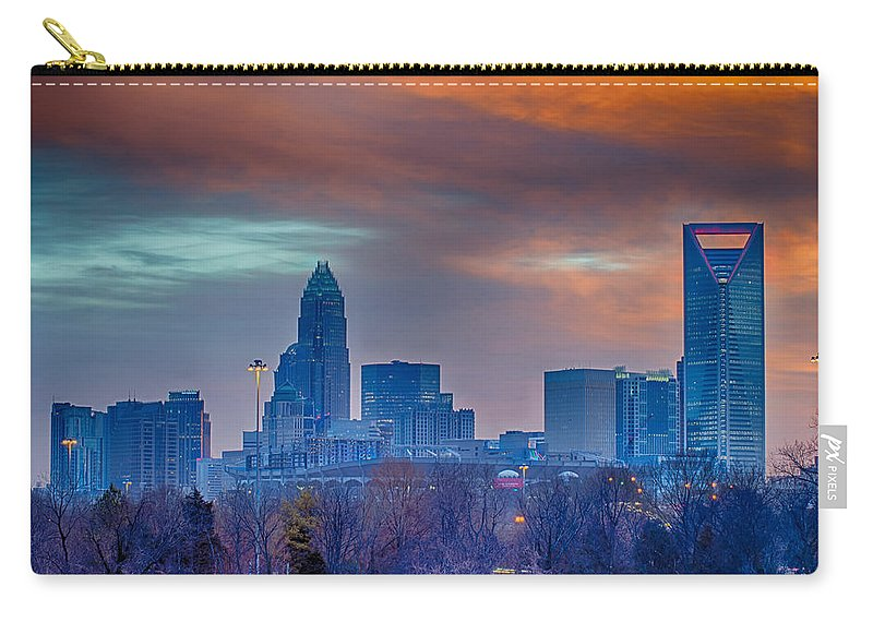 Charlotte Carry-all Pouch featuring the photograph Charlotte The Queen City Skyline At Sunrise by Alex Grichenko