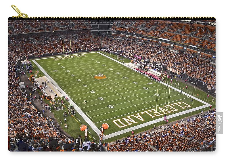 Cleveland Carry-all Pouch featuring the photograph Cleveland Browns Stadium by Frozen in Time Fine Art Photography