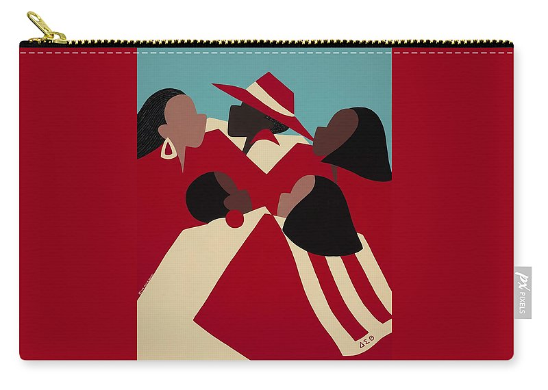 African American Carry-all Pouch featuring the painting Crimson And Cream by Synthia SAINT JAMES