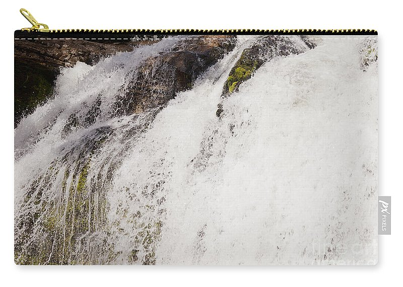 Background Carry-all Pouch featuring the photograph Curtain Of White Water Falling From Rocky Cliff by Stephan Pietzko