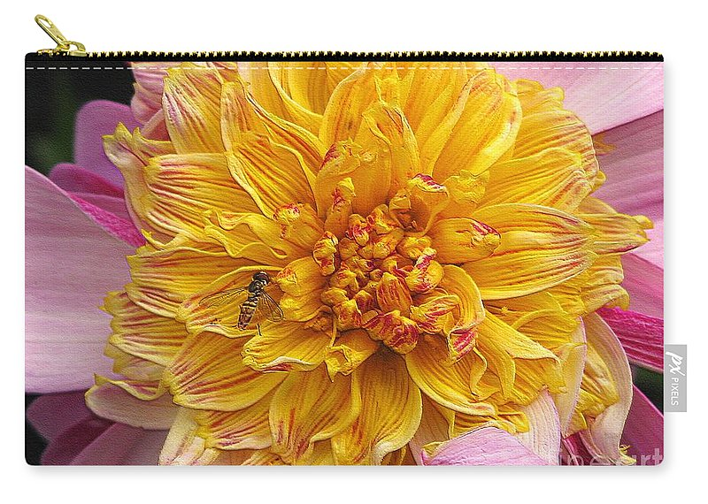 Dahlia Carry-all Pouch featuring the digital art Dahlia Named Lambada by J McCombie