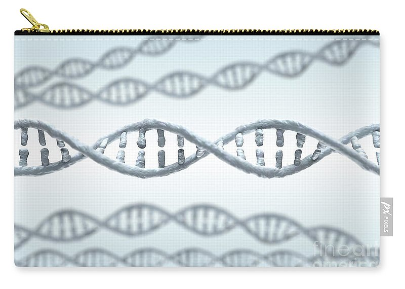 Digitally Generated Image Carry-all Pouch featuring the photograph Dna Strands by Science Picture Co
