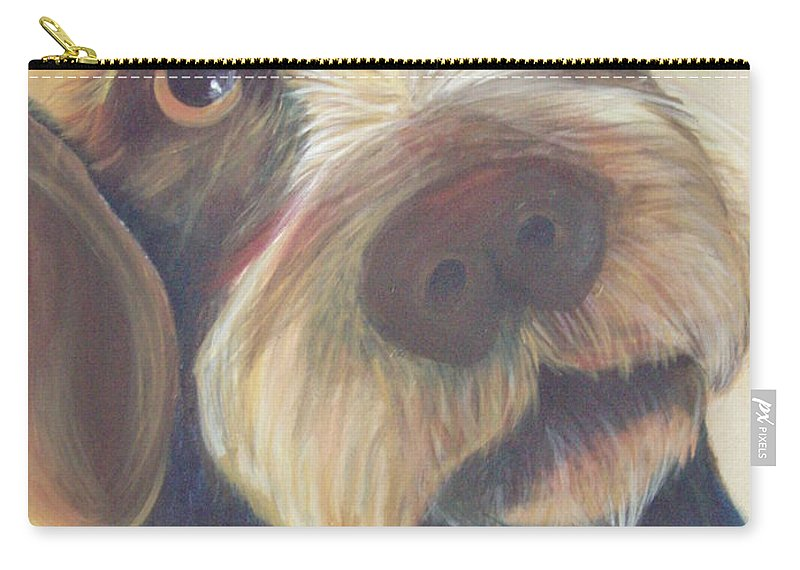 Drahthaar Carry-all Pouch featuring the painting Drahthaar Amadeus by Catt Kyriacou