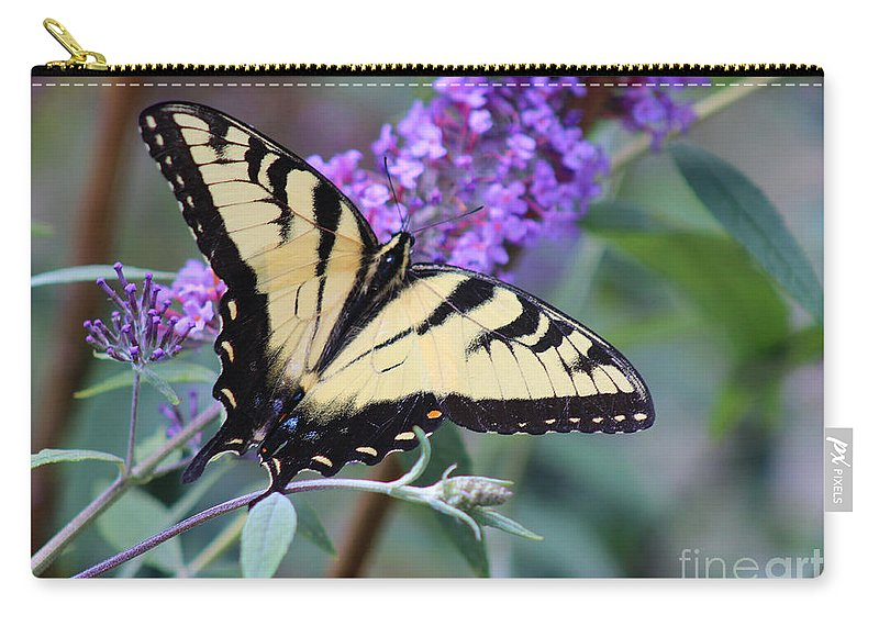 Flower Carry-all Pouch featuring the photograph Eastern Tiger Swallowtail Butterfly On Butterfly Bush by Karen Adams