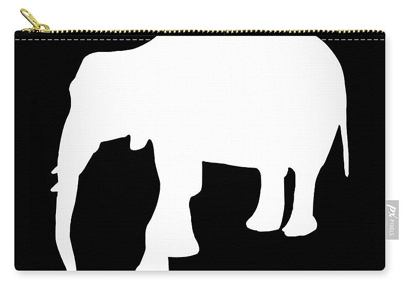 Graphic Art Carry-all Pouch featuring the digital art Elephant In Black And White by Jackie Farnsworth