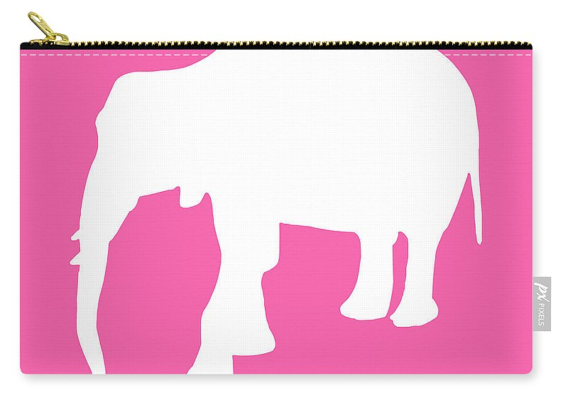 Graphic Art Carry-all Pouch featuring the digital art Elephant In Pink And White by Jackie Farnsworth