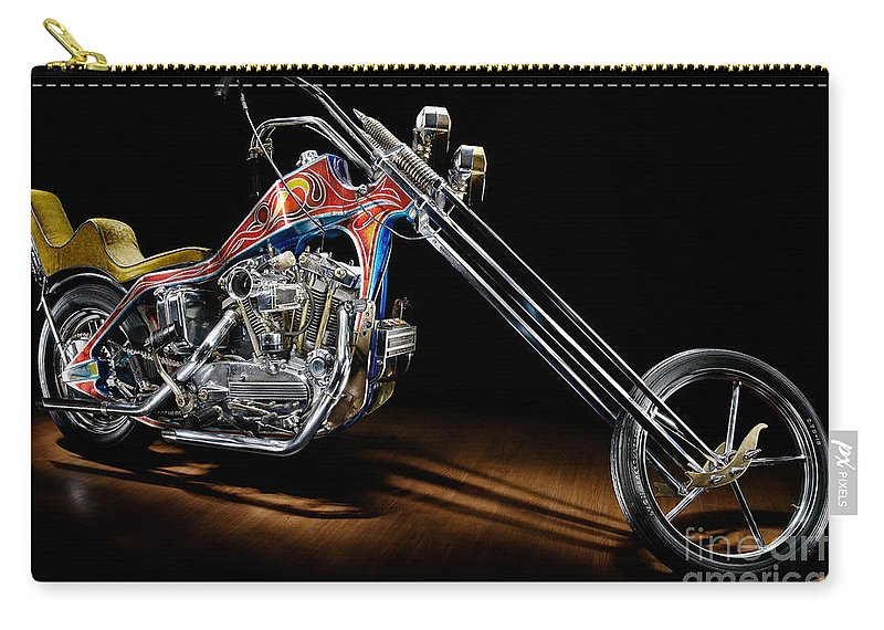 Harley Carry-all Pouch featuring the photograph Evel Knievel Harley-davidson Chopper by Frank Kletschkus