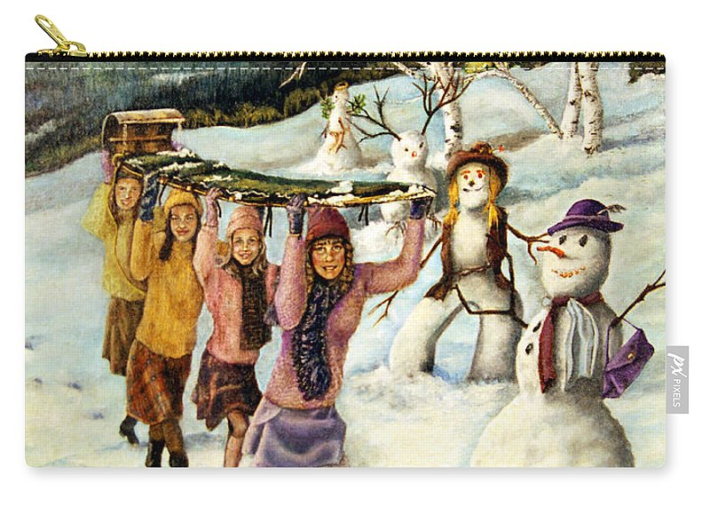Dog Carry-all Pouch featuring the painting Frosty Frolic by Linda Simon