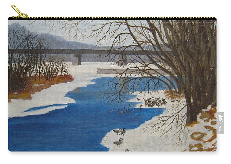Geese Carry-all Pouch featuring the painting Geese On The Grand River by Lisa MacDonald