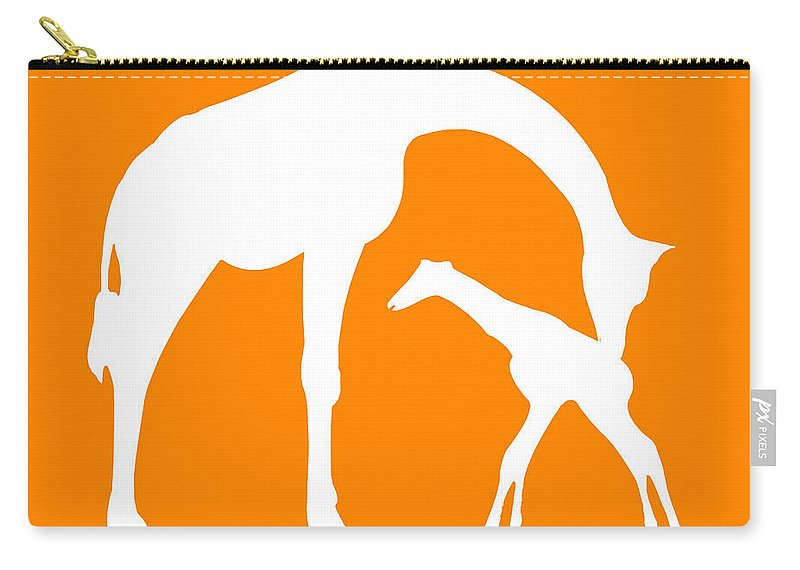 Graphic Art Carry-all Pouch featuring the photograph Giraffe In Orange And White by Jackie Farnsworth