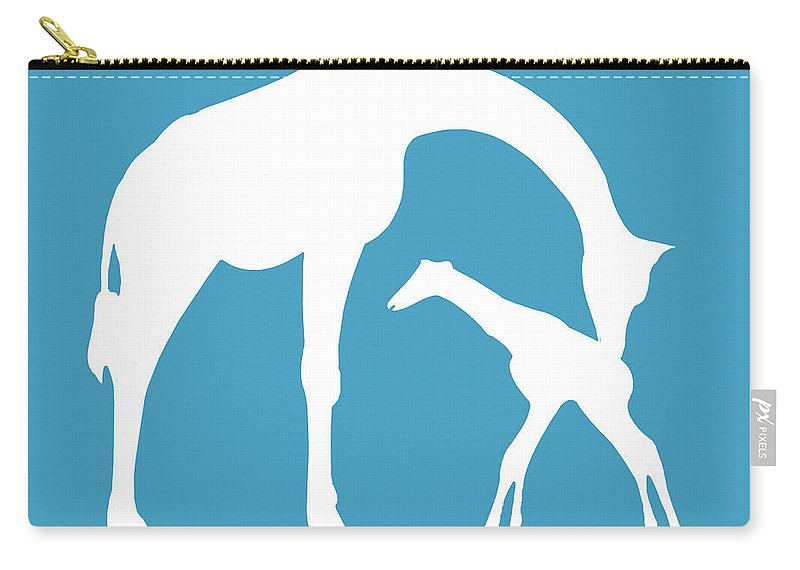 Graphic Art Carry-all Pouch featuring the digital art Giraffe In White And Turquoise by Jackie Farnsworth