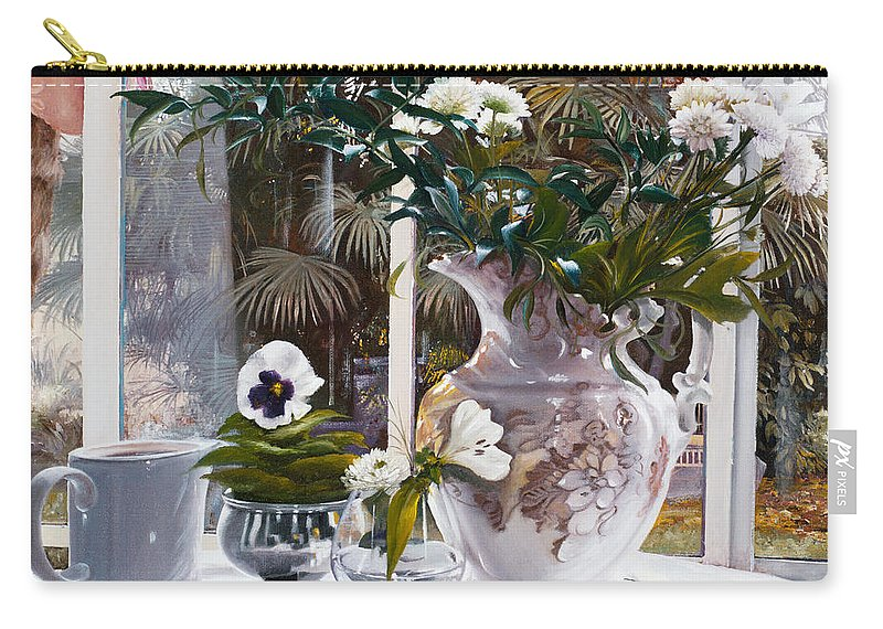 Still Life Carry-all Pouch featuring the painting Il Vaso Inglese by Danka Weitzen