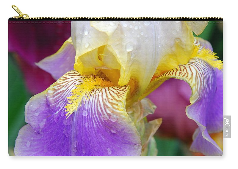 Blue Carry-all Pouch featuring the photograph Iris 4 by Allen Beatty