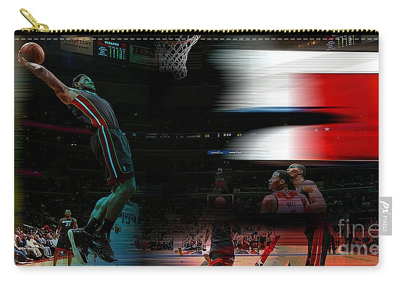Lebron Paintings Mixed Media Carry-all Pouch featuring the mixed media Lebron James by Marvin Blaine