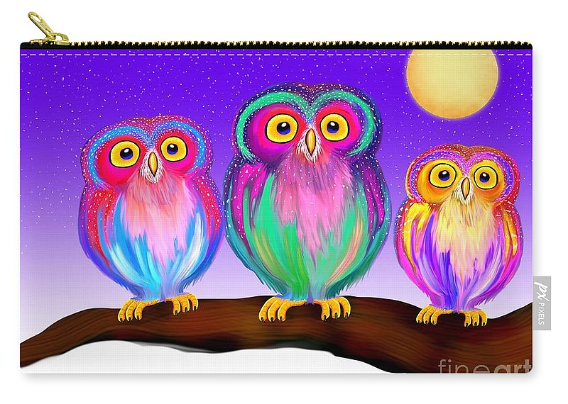 Owls Carry-all Pouch featuring the painting 3 Little Owls In The Moonlight by Nick Gustafson
