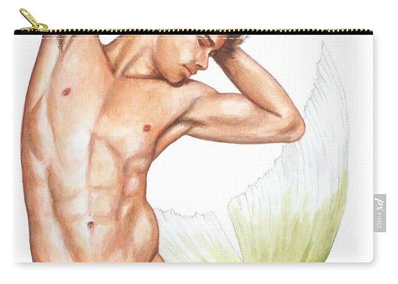Mermaid Carry-all Pouch featuring the painting Merman by Bruce Lennon